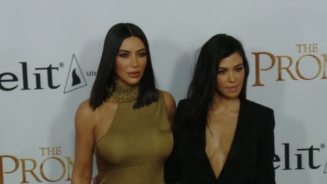 """kim kardashian west and kourtney kardashian at the """"the promise"""" los angeles premiere at tcl chinese theatre on april 12, 2017 in hollywood,... - tcl chinese theatre stock videos & royalty-free footage"""