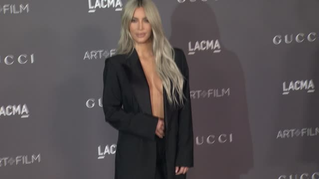 kim kardashian west at 2017 lacma art + film gala honoring mark bradford and george lucas presented by gucci in los angeles, ca 11/4/17 - red carpet event stock videos & royalty-free footage
