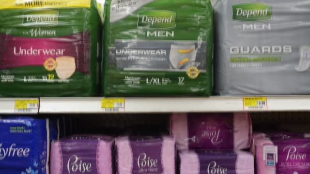 kimberly clark corp depend brand products sit on display for sale at a supermarket in princeton, illinois, us, kimberly clark corp poise brand... - femininity stock videos & royalty-free footage