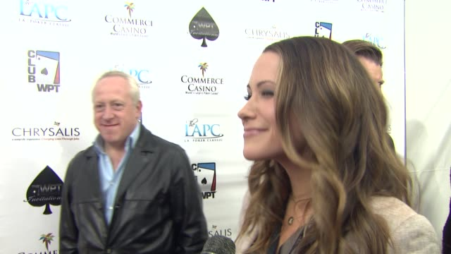 kimberly lansing on tonight's event on the world poker tour at the world poker tour celebrity invitational at city of commerce ca - lansing video stock e b–roll