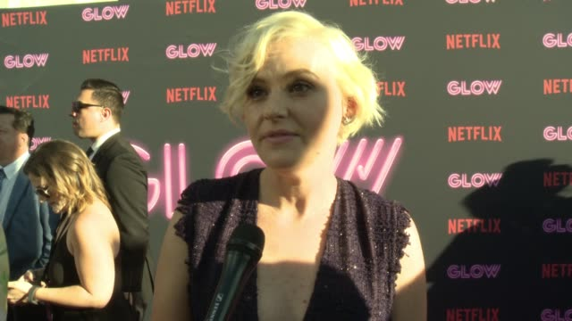interview kimmy gatewood on glow on why female driven shows and female empowerment is resonating with people the sisterhood on and off set diversity... - cinerama dome hollywood stock videos and b-roll footage