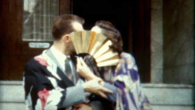kimono kiss 1940's - archives stock videos & royalty-free footage