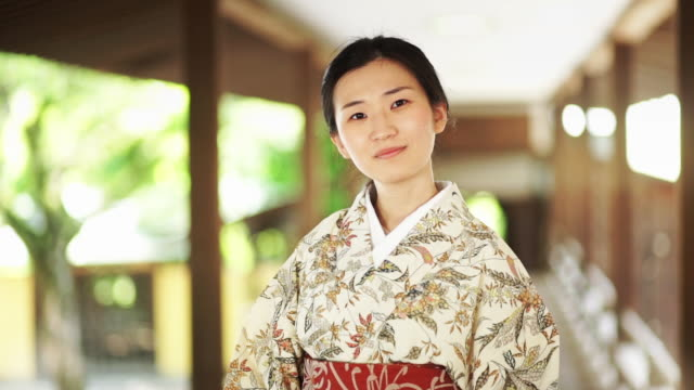 kimono-wearing girl in traditional japanese building - shibamata stock videos & royalty-free footage