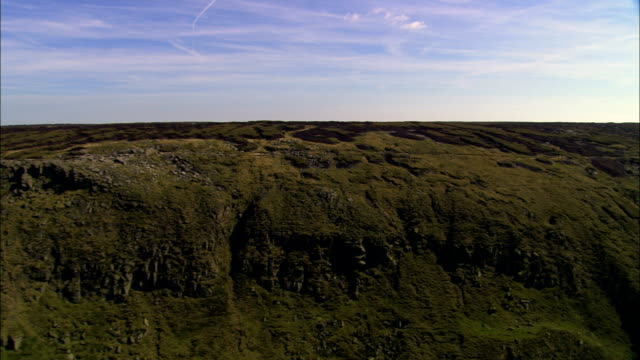 kinder scout  - aerial view - england, derbyshire, high peak district, united kingdom - plateau stock videos and b-roll footage