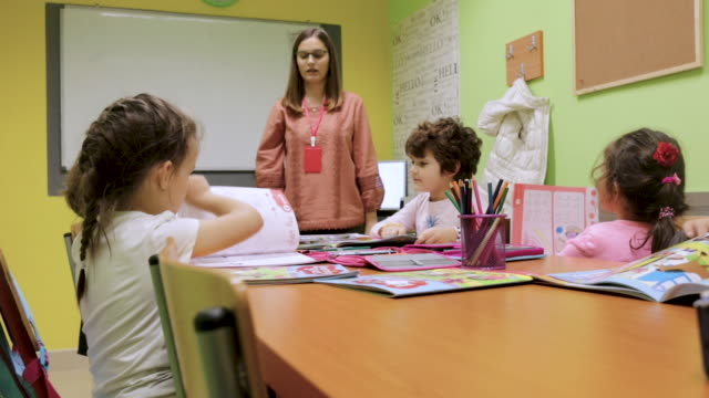kindergarten students activities in classroom. preschool children coloring and writing together at their desk. teacher is standing next to them and giving them hints and encouragement. teacher with a group of preschool children in a nursery - nursery school child stock videos & royalty-free footage
