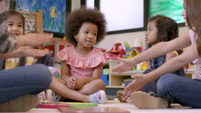 kindergarten students in daycare - preschool age stock videos & royalty-free footage