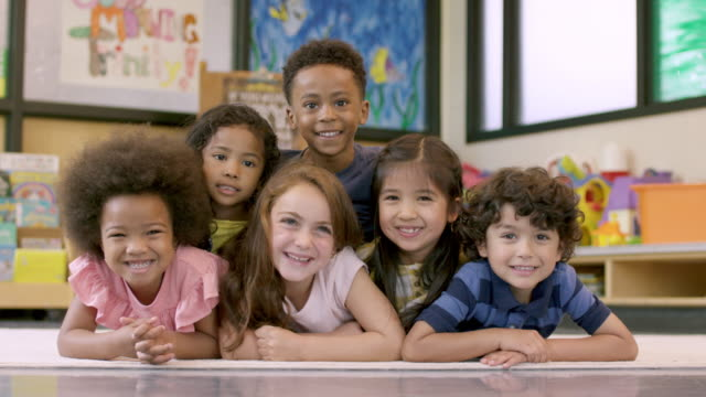 kindergarten students together - nursery school child stock videos & royalty-free footage