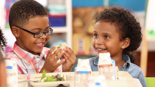 Kindergarteners eating in school cafeteria