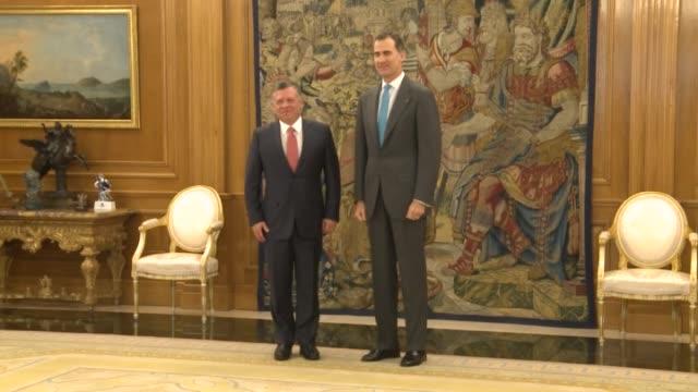 King Abdallah II of Jordan and King Felipe VI of Spain pose at the Zarzuela palace in Madrid