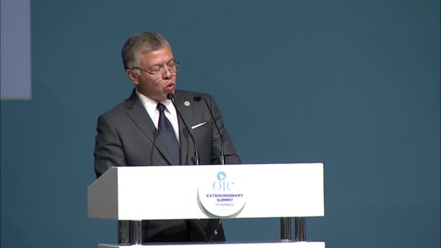 King Abdullah II of Jordan delivers a speech during the Organization of Islamic Cooperation Extraordinary Islamic Summit Conference on May 18 2018 in...