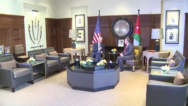 King Abdullah II of Jordan receives US Vice President Joe Biden at the AlHusseinia Palace in Amman Jordan on March 10 2016 Biden arrived in Amman as...