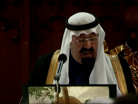 king abdullah of saudi arabia state visit: guildhall state banquet; more of king abdullah of saudi arabia speech sot - state dinner stock videos & royalty-free footage