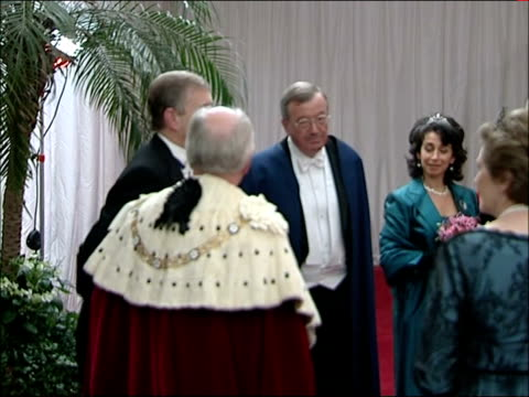 king abdullah of saudi arabia state visit: guildhall state banquet; prince andrew, duke of york arrival as greeted by lord mayor and playing of... - state dinner stock videos & royalty-free footage