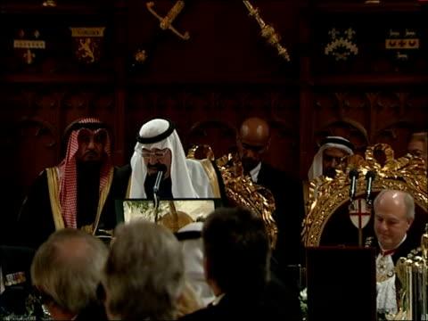 king abdullah of saudi arabia state visit guildhall state banquet king abdul aziz al saud of saudi arabia speech sot - state dinner stock videos & royalty-free footage