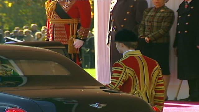 King Abdullah of Saudi Arabia state visit to Britain Car arrival of King Abdullah bin Abdul Aziz Al Saud welcomed by liveried footmen King Abdullah...