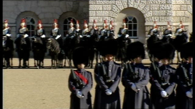 king abdullah of saudi arabia state visit to britain england london horseguards parade ext household cavalry and 1st battalion welsh guards lining up... - cavalry stock videos and b-roll footage