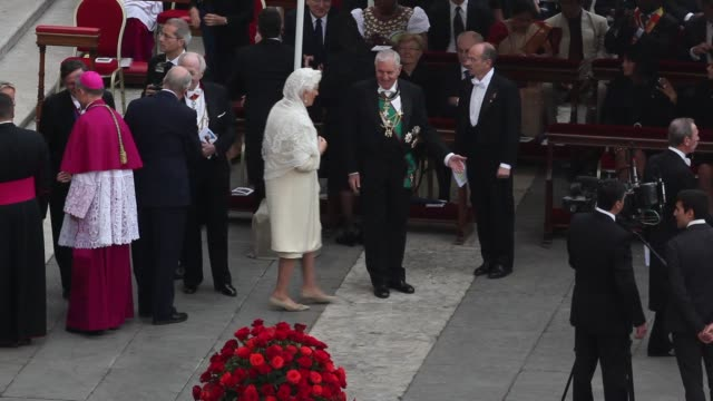 king albert ii of belgium, queen paola of belgium, georg ganswein at pope john paul ii and pope john xxiii are declared saints during a vatican mass... - pope john xxiii stock videos & royalty-free footage