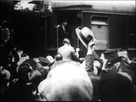 king alfonso xiii boarding train + standing in doorway looking at crowd - 1931 stock videos & royalty-free footage