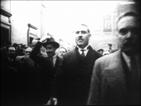 king alfonso xiii walking in crowd tipping hat / spain - king royal person stock videos & royalty-free footage