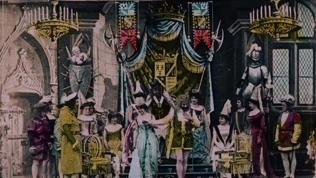 stockvideo's en b-roll-footage met 1903 ws a king and his court during the film illusions le royaume des fées (the kingdom of fairies) by george melies - georges méliès