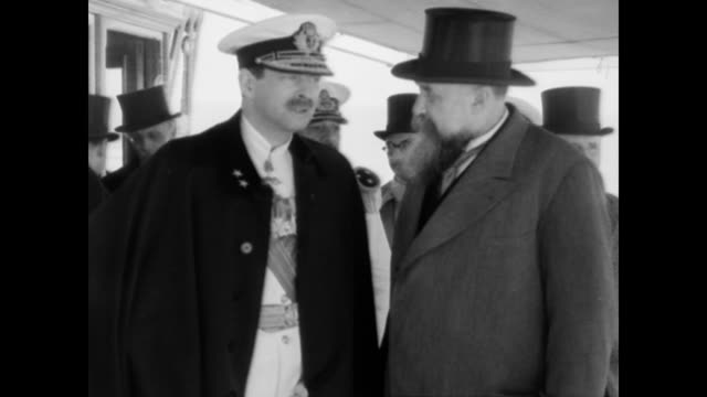 / king carol his son michael and several officials traveling on a ship down the newly opened canal in romania / prince michael leaning over the side... - 1932 stock videos & royalty-free footage