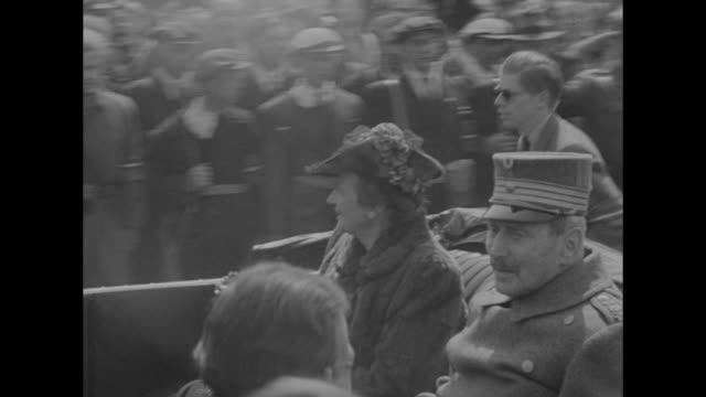 king christian x and wife queen alexandrine ride in convertible down street in copenhagen crowd watching as they return home after world war ii /... - 1945 stock videos & royalty-free footage