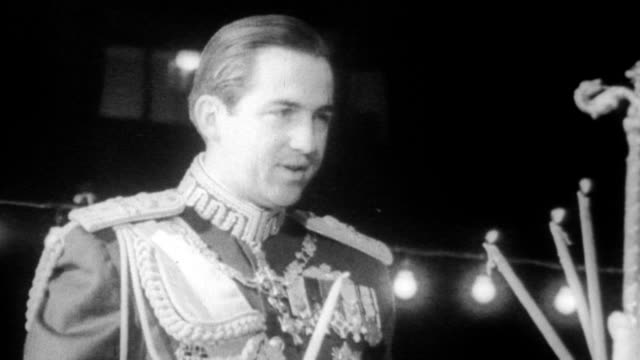 king constantine of greece makes his first public appearance at orthodox easter religious and civic ceremonies, following the army government... - 1967 stock videos & royalty-free footage