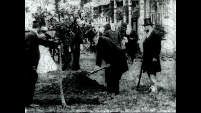 king edward vii dressed in top hat plants a tree in the garden shot by travelogue film pioneer burton holmes - edwardian style stock videos & royalty-free footage