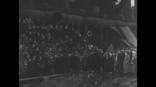 king edward viii arrives in region of south wales uk where the local population has long been unemployed / chimneys and furnaces sitting idle /... - council flat stock videos & royalty-free footage