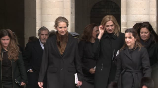 King Felipe and her sisters Elena and Cristina alongside King Juan Carlos and Queen Sofía attend the Funeral Mass of Don Juan de Borbón in El Escorial
