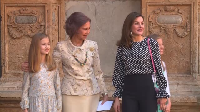 King Felipe and Queen Letizia alongside their daughters Sofía and Leonor and King Juan Carlos and Queen Sofía attend the Easter Mass in Palma de...