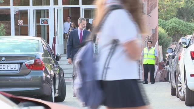 king felipe and queen letizia of spain leave the 'santa maria de los rosales' school on the first day of school of princess leonor and princess sofia - queen letizia of spain stock videos and b-roll footage