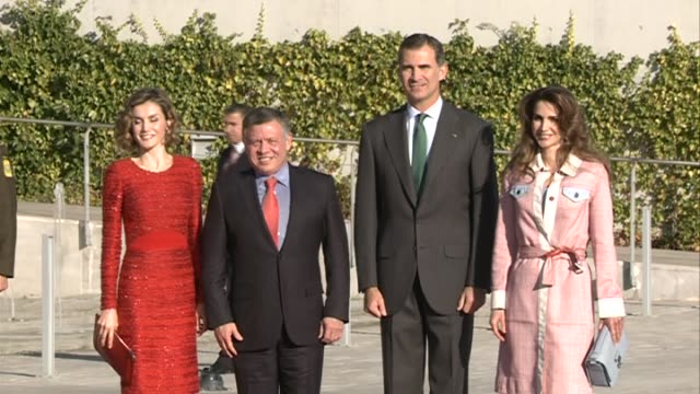 king felipe and queen letizia of spain receive king abdullah and queen rania of jordan - queen letizia of spain stock videos and b-roll footage