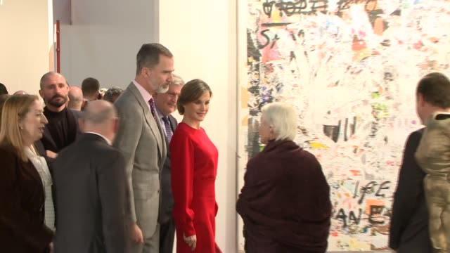 king felipe and queen letizia visit the modern art fair arco in ifema madrid - queen letizia of spain stock videos and b-roll footage