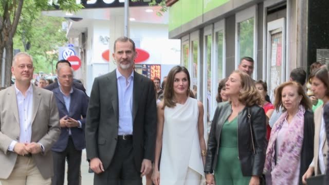 stockvideo's en b-roll-footage met king felipe of spain and queen letizia of spain attend 'famelab espana 2018' scientific monologues presentation at galileo galilei club - galileo galilei