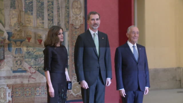 stockvideo's en b-roll-footage met king felipe of spain and queen letizia of spain attend the reception offered by portugal president marcelo rebelo de sousa at el pardo palace - pardo