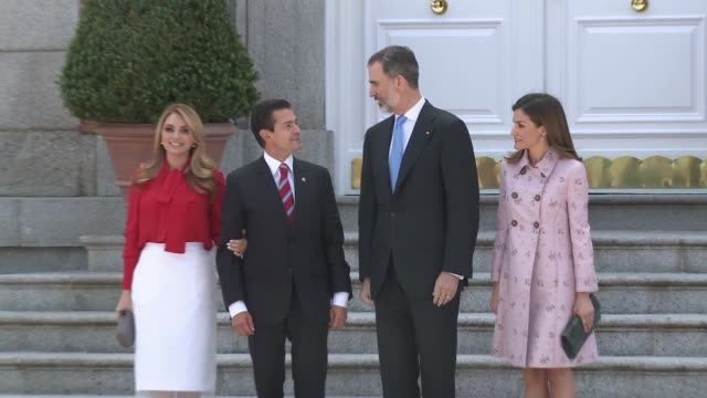 king felipe of spain and queen letizia of spain offer a lunch to mexican president enrique pena nieto and his wife angelica rivera at zarzuela palace - queen letizia of spain stock videos and b-roll footage