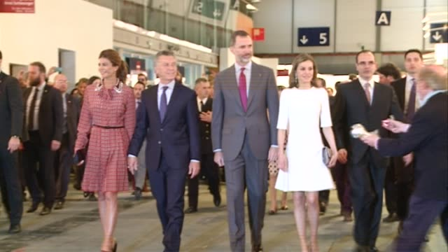 king felipe of spain queen letizia of spain argentina's president mauricio macri and wife juliana awada attend the opening of the international... - queen letizia of spain stock videos and b-roll footage