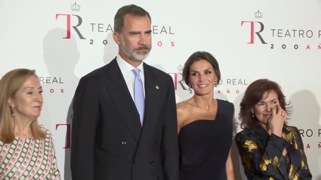 king felipe vi of spain and queen letizia of spain attend 'fausto' opera during the opening of the royal theatre new season on september 19 - saudi arabien stock-videos und b-roll-filmmaterial