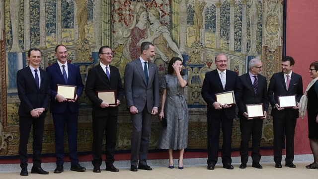 King Felipe VI of Spain and Queen Letizia of Spain attend 'Premios Nacionales De Investigacion' 2018 awards at the El Pardo Palace on February 21...