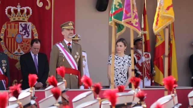 king felipe vi of spain and queen letizia of spain attend the armed forces day - queen letizia of spain stock videos and b-roll footage