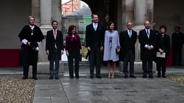 king felipe vi of spain and queen letizia of spain attend the 'miguel de cervantes 2018' award, given to uruguayan writer ida vitale at alcala de... - literature stock videos & royalty-free footage