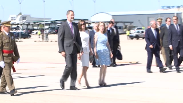 King Felipe VI of Spain and Queen Letizia of Spain depart from Barajas Airport at Barajas Airport