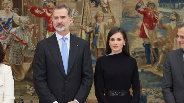 stockvideo's en b-roll-footage met king felipe vi of spain and queen letizia of spain during the delivery of the national research awards 2019 at el pardo palace in madrid spain - pardo