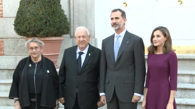 king felipe vi of spain and queen letizia of spain receive israeli president reuven rivlin and wife nechama rivlin for an official lunch at the... - queen letizia of spain stock videos and b-roll footage
