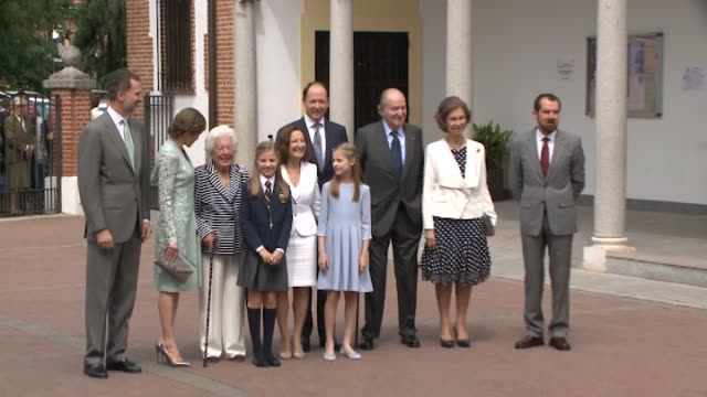 king felipe vi of spain princess sofia of spain princess leonor of spain and queen letizia of spain pose for the photographers after the first... - queen letizia of spain stock videos and b-roll footage