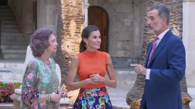 King Felipe VI of Spain Queen Letizia of Spain and Queen Sofia host a dinner for authorities at the Almudaina Palace