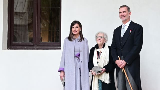 king felipe vi of spain queen letizia of spain and uruguayan writer ida vitale attend the 'miguel de cervantes 2018' award given to uruguayan writer... - literature stock videos & royalty-free footage