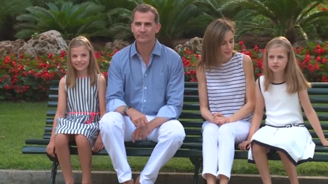 King Felipe VI of Spain Queen Letizia of Spain Princess Leonor of Spain and Princess Sofia of Spain poses for the photographers at the Marivent Palace