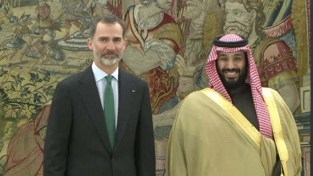king felipe vi of spain receives crown prince mohammad bin salman bin abdulaziz al saud of saudi arabia at zarzuela palace - principe persona nobile video stock e b–roll